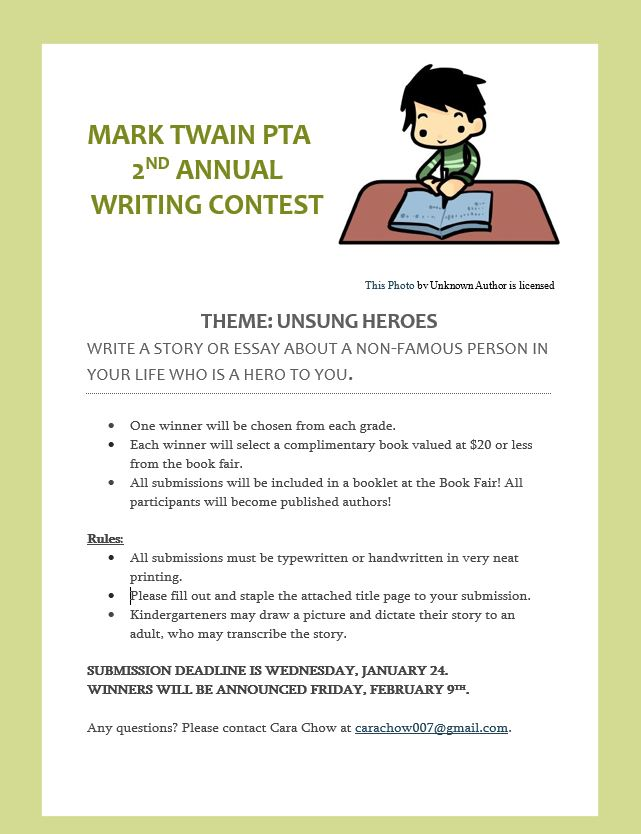 Mark Twain PTA Writing Contest