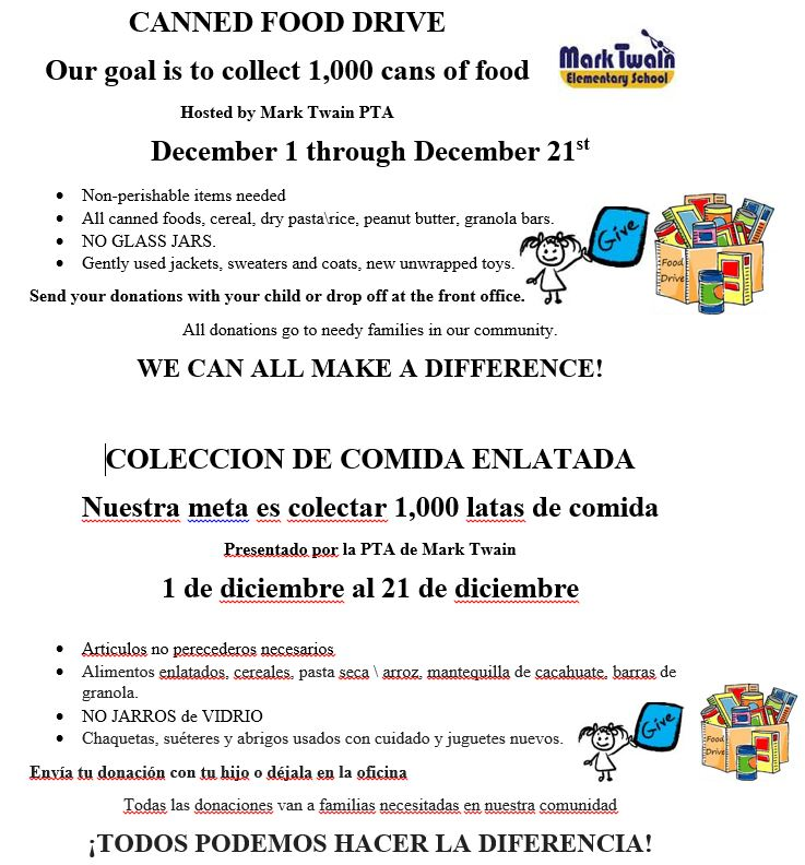 PTA Canned food drive   sweaters